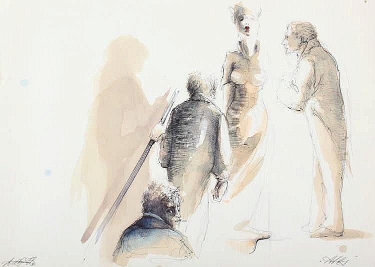 NOSSMANN, Andreas, ''Figuren'', aquarellierte Zeichnung/Papier, 30 x 42, h