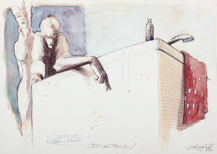 NOSSMANN, Andreas, ''Tod des ...'', aquarellierte Zeichnung/Papier, 30 x 4