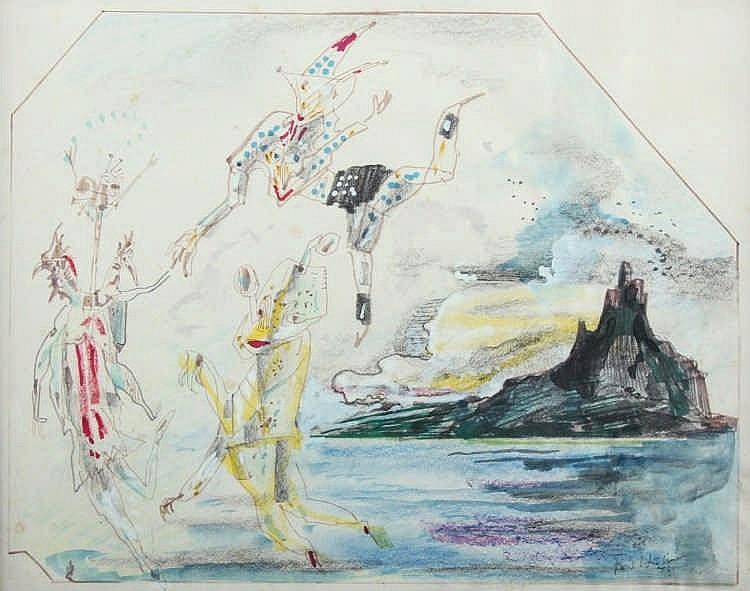 HUHNEN, Fritz, ''Schwebende Figuren'', Mischtechnik/Papier, 21 x 26, unten
