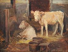 JUNGWIRTH, Josef (1869-1950), ''Zwei Kälber im Stall'', Öl/Malplatte,18,5