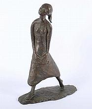 WELZEL, Manfred, (*1926 Berlin), ''Mädchen'', Bronze, H 33,5, auf dem Sock