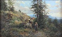 MÜHLIG, Bernhard (1829-1910), ''Kuhhirtin mit Kühen'', Öl/Malplatte, 16 x