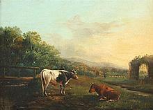 TSCHAGGENY, Edmond Jean-Baptiste (1818-1873), ''Landschaft mit Kühen und Ruine'', Öl/Holz, 23 x 30,