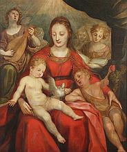 AACHEN, Hans van (1552-1615), und Werkstatt, ''Muttergottes mit Kind und dem Johannesknaben'', Öl/Ho