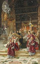VINIEGRA Y LASSO, Salvador (1862-1915), ''Prozessionszug in einer Kirche'',