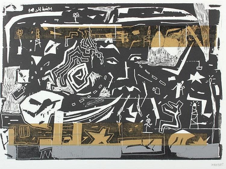 BEER, Tjorg Douglas, ''o.T.'', Farbradierung mit Collage, 50 x 70, handsigniert, Edition der Griffel