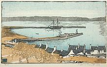 BERNDT, Siegfried, ''Der Hafen von Stranraer (Schottland)'', Farbholzschnitt/Japan, 15 x 25, handsig