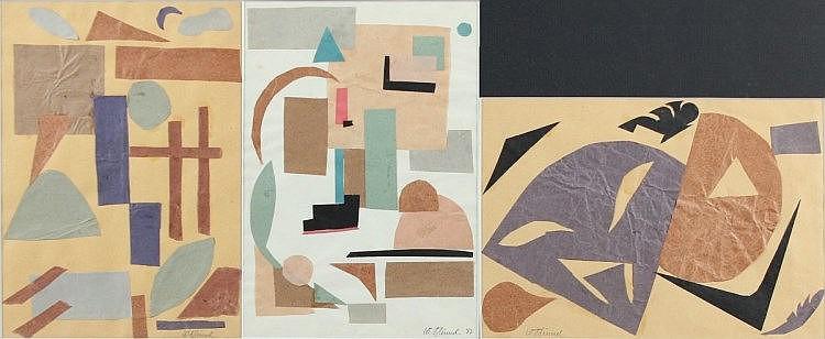 BLÜMEL, Walter, drei Collagen, ''Komposition I - III'', Papier, 30 x 40, je handsigniert und eines d