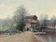 KINDBORG, Johan Ludwig (1861-1907), ''Motiv aus Storbron in Schweden'', Öl/Lwd., 46 x 61, unten link