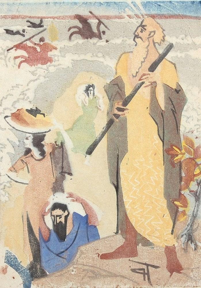 THALHEIMER, Paul, ''Moses'', Farbholzschnitt, 24 x 17,5, im Stock monogrammiert, um 1920, auf das Pa