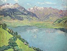 JUNGWIRTH, Josef (1869-1950), ''Blick auf Zellersee'', Öl/Malplatte,23,5 x 30, unten rechts signiert