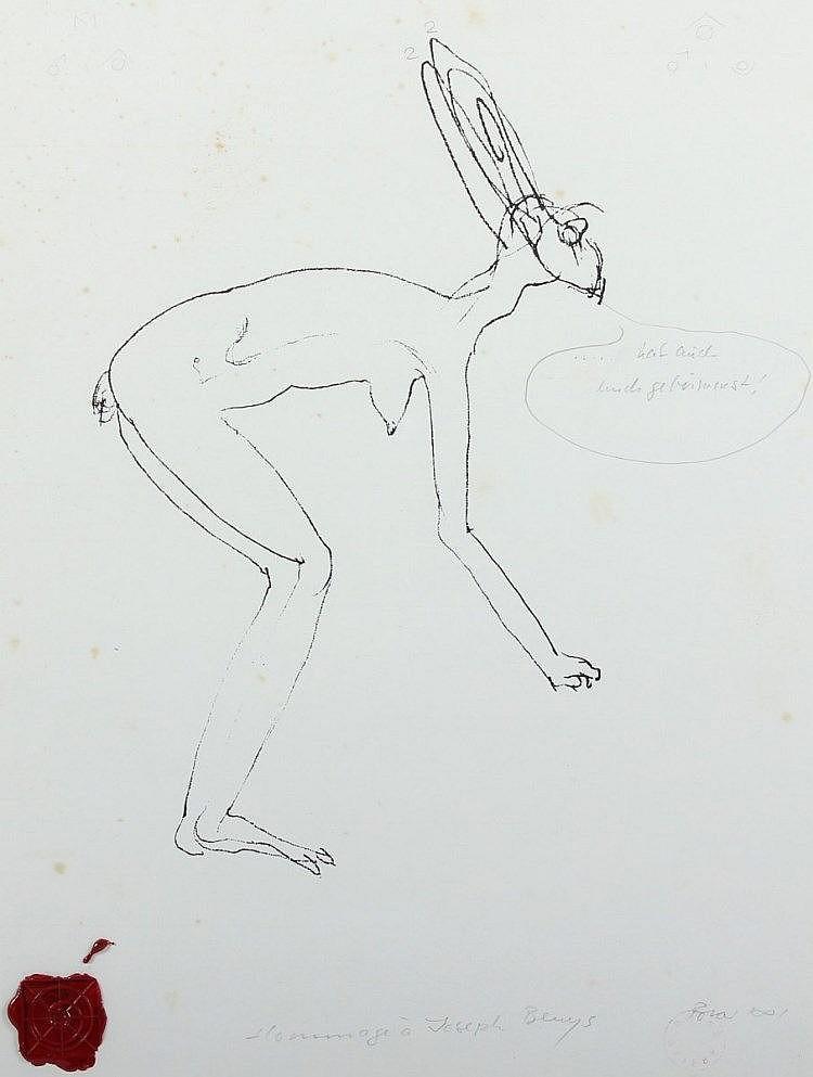 ROTAR, Robert, ''Hommage an Joseph Beuys'', Mischtechnik (eine Arbeit von Beuys mit Bleistift überar