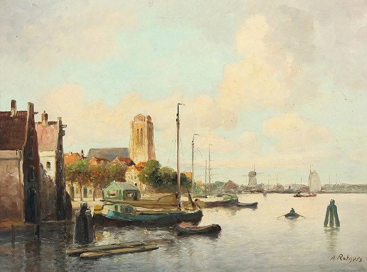 RUTGERS, Anton (1880-1949), ''Ansicht von Dordrecht'', Öl/Lwd., 60 x 80, unten rechts signiert, R.