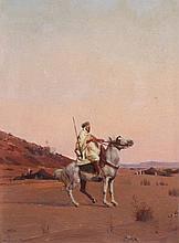 HERMENJAT, Jacques Elie Abraham (1862-1932), ''Arabischer Reiter'', Öl/Plat