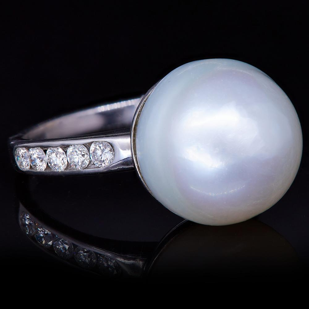 -NO RESERVE- PEARL AND DIAMOND RING
