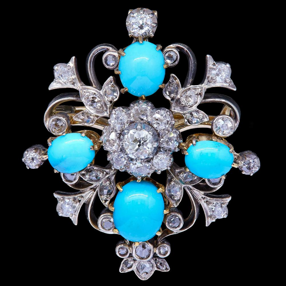 ANTIQUE VICTORIAN TURQUOISE AND DIAMOND PENDANT/BROOCH
