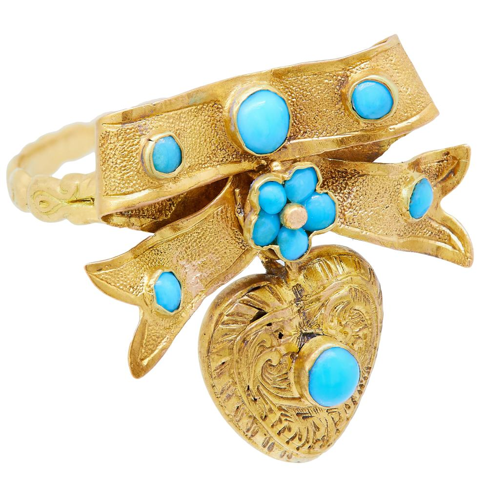 -NO RESERVE- ANTIQUE TURQUOISE KNOTTED BOW DROP RING