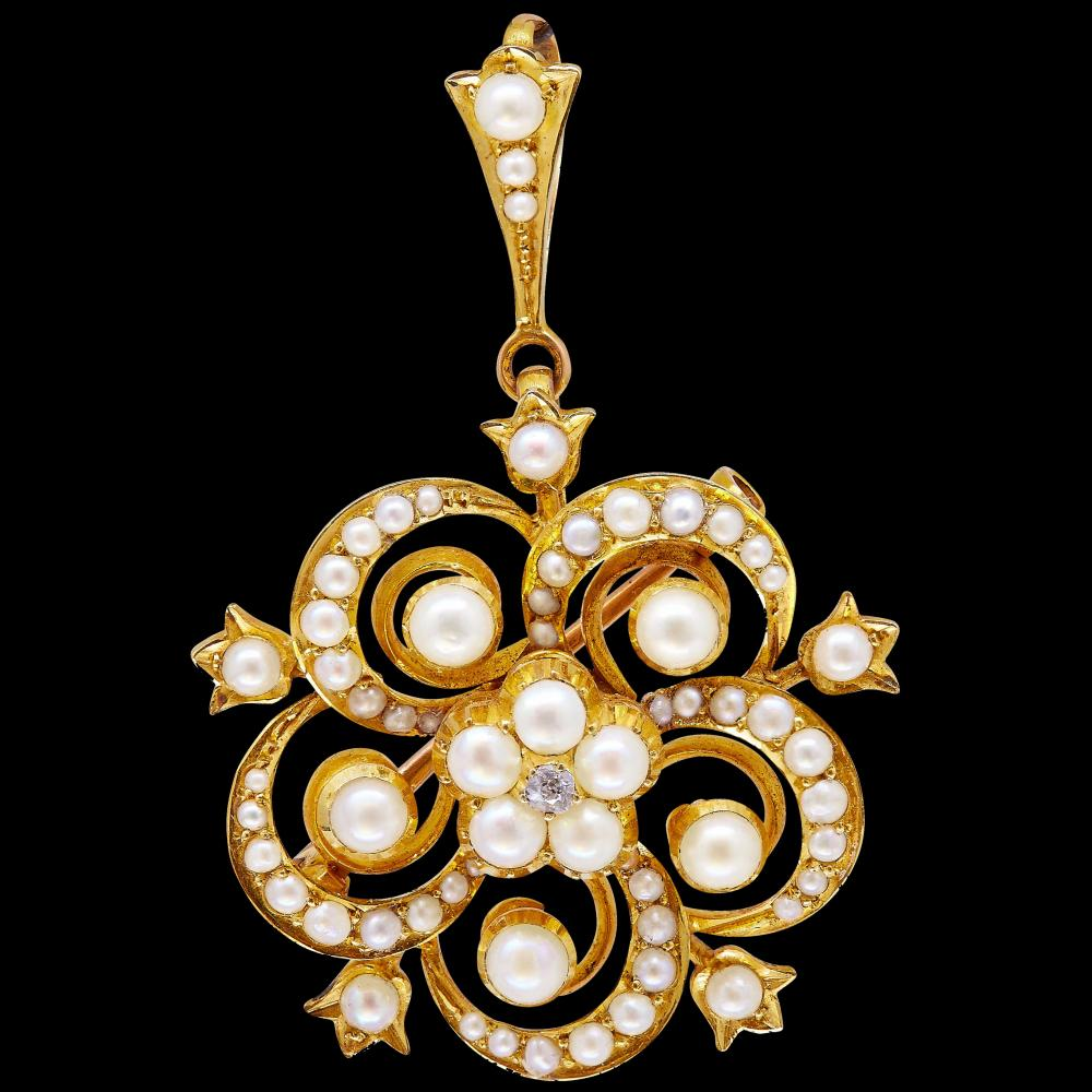 -NO RESERVE- ANTIQUE VICTORIAN PEARL AND DIAMOND BROOCH