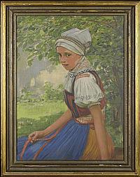 Josef Koudelka (1877-1960) Sitting girl wearing a