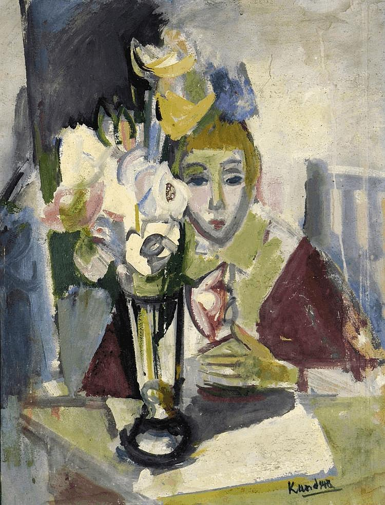 Rudolf Kundera (1911-2005) Girl with a flower