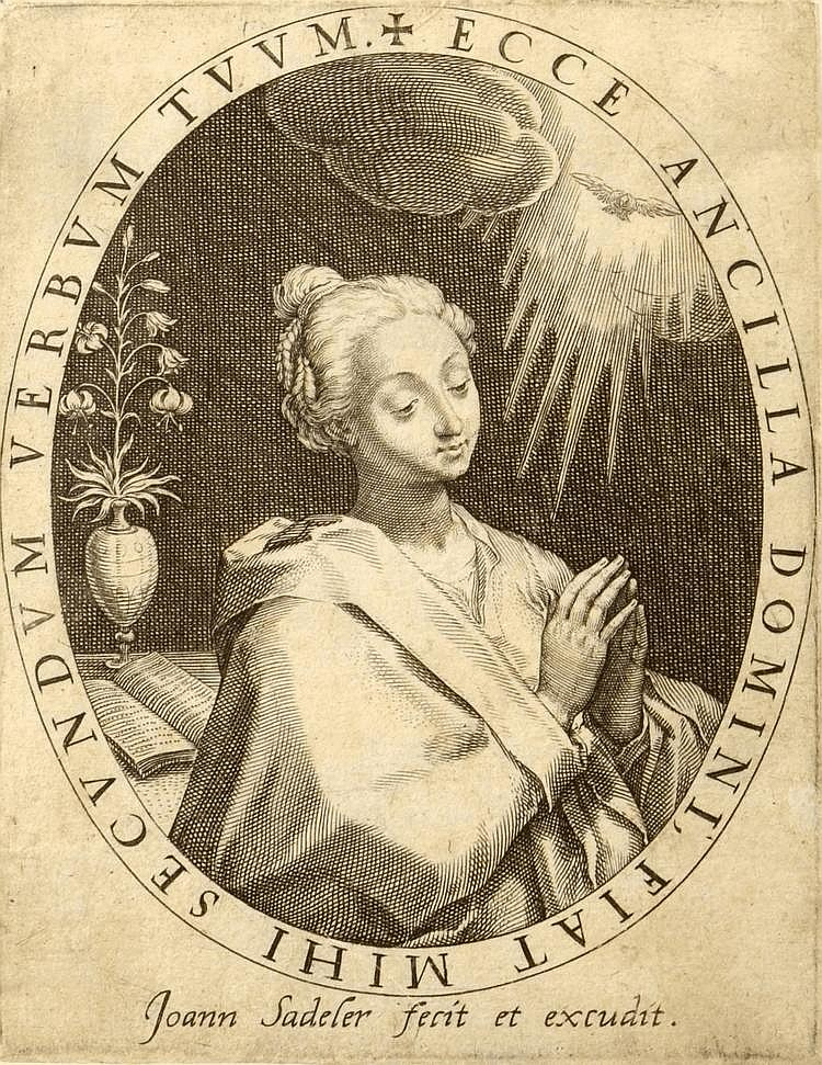 Jan Sadeler (1550-1600) ANNUNCIATION. Copperplate