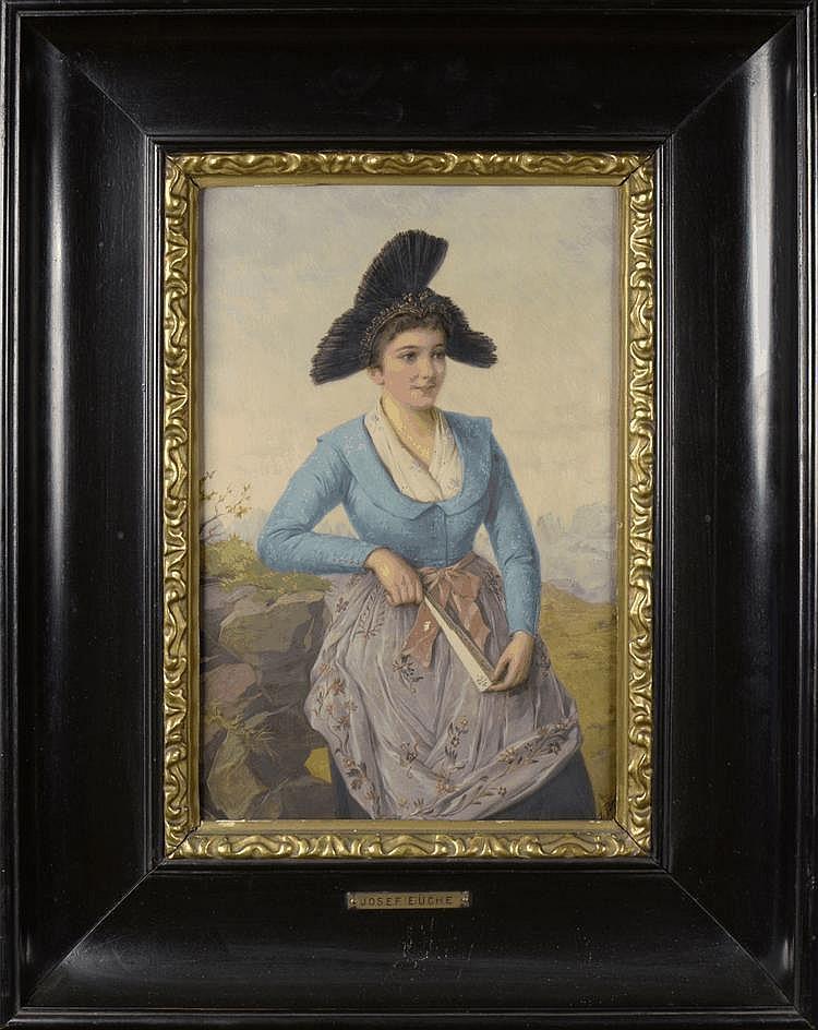 Josef Büche (1848-1917) Portrait of a young lady