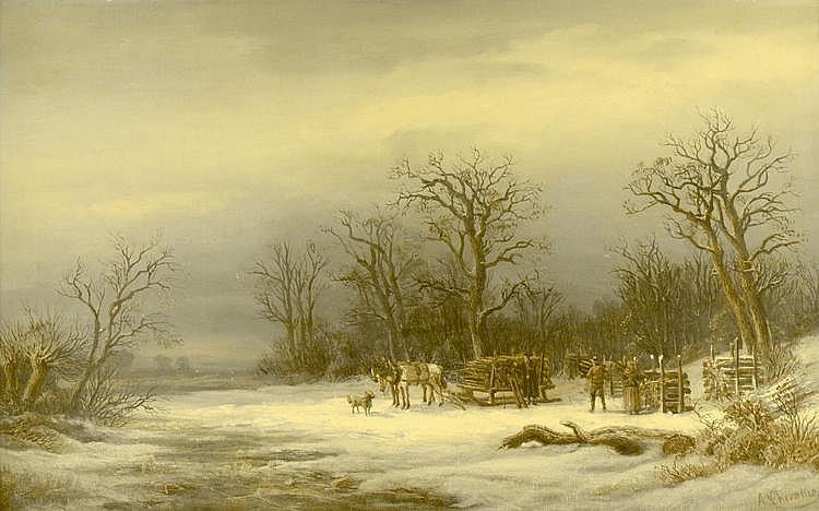Adolf Chevalier (*1831) Wood gathering. Quiet