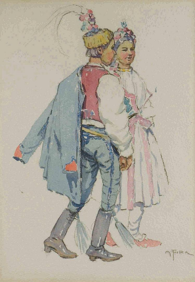 Antoš Frolka (1877-1935) BOY AND A GIRL IN FOLK