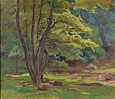 Lojza Budík (1888-1945) RIVER SURROUNDING. Oil on