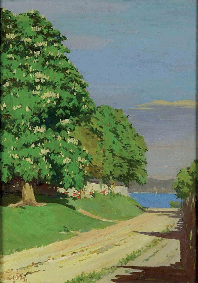 Erich Kux (1882-1977) LAKE LANDSCAPE. View on the