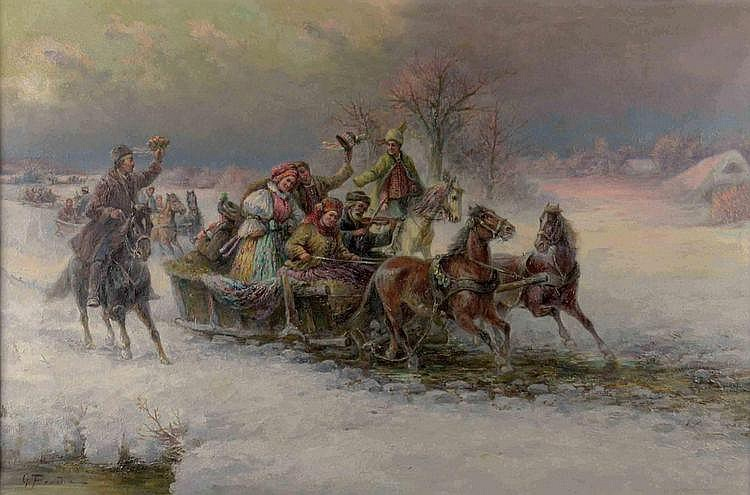 Gustav Prucha (1875-1952) SLEDGE RIDE. Marry