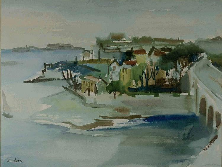 Rudolf Kundera (1911-2005) RIVER LANDSCAPE WITH A