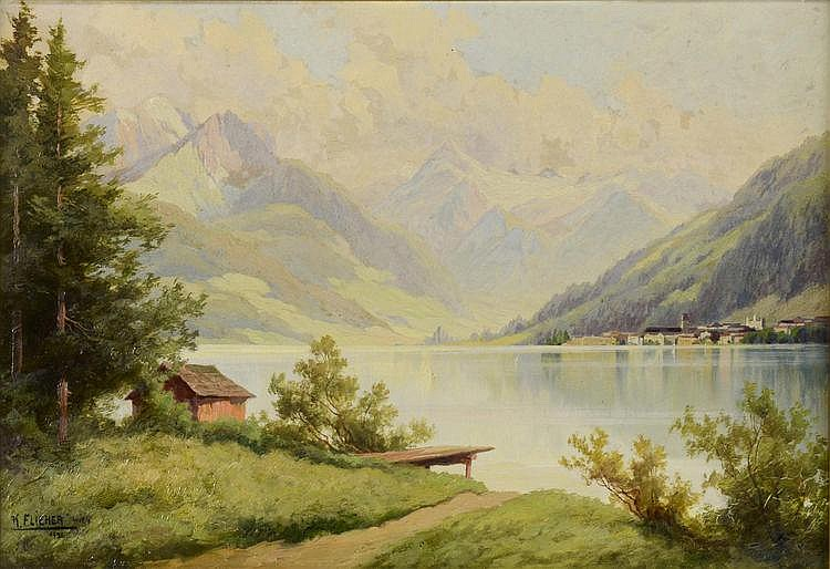 Karl Flieher (1881-1958) VIEW ON ZELL AM SEE AND