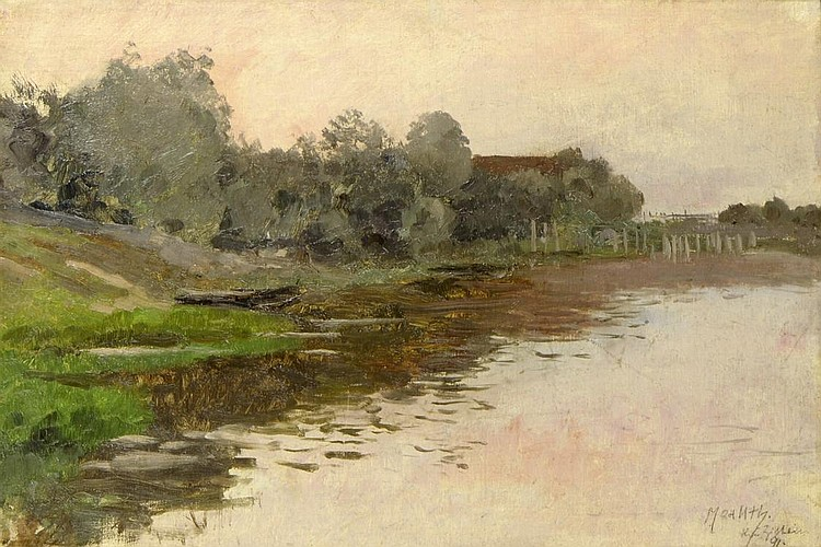 Max Uth (1863-1914). LAKE WITH A BOAT BY ZITAVA,