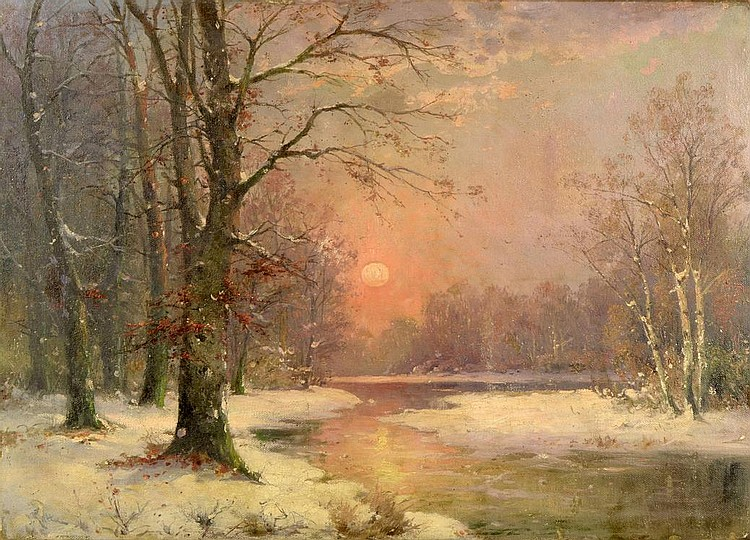 Adolf Kaufmann (1848-1916). Sunset in winter