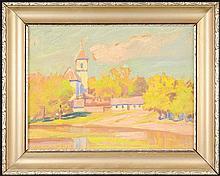 Lojza Budík (1888-1945) A VILLAGE CHURCH. 1922.