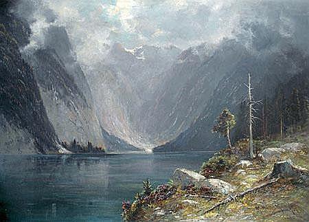 Moritz Müller (1841-1899): Mountain landscape. Oil