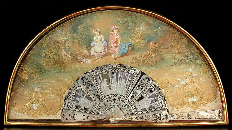 ÉDOUARD LIEVRE (1829-1886), FAN. Elaborately