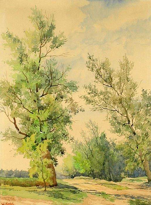WILHELM KIMBEL (1868-1965), Landscape with trees.