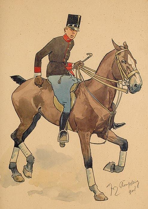 FRITZ SCHÖNPFLUG (1873-1951), Cadet on horse,