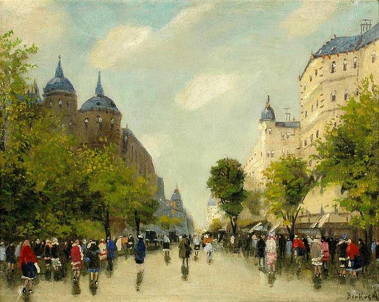 ANTAL BERKES (1874-1938), BOULEVARD IN BUDAPEST.