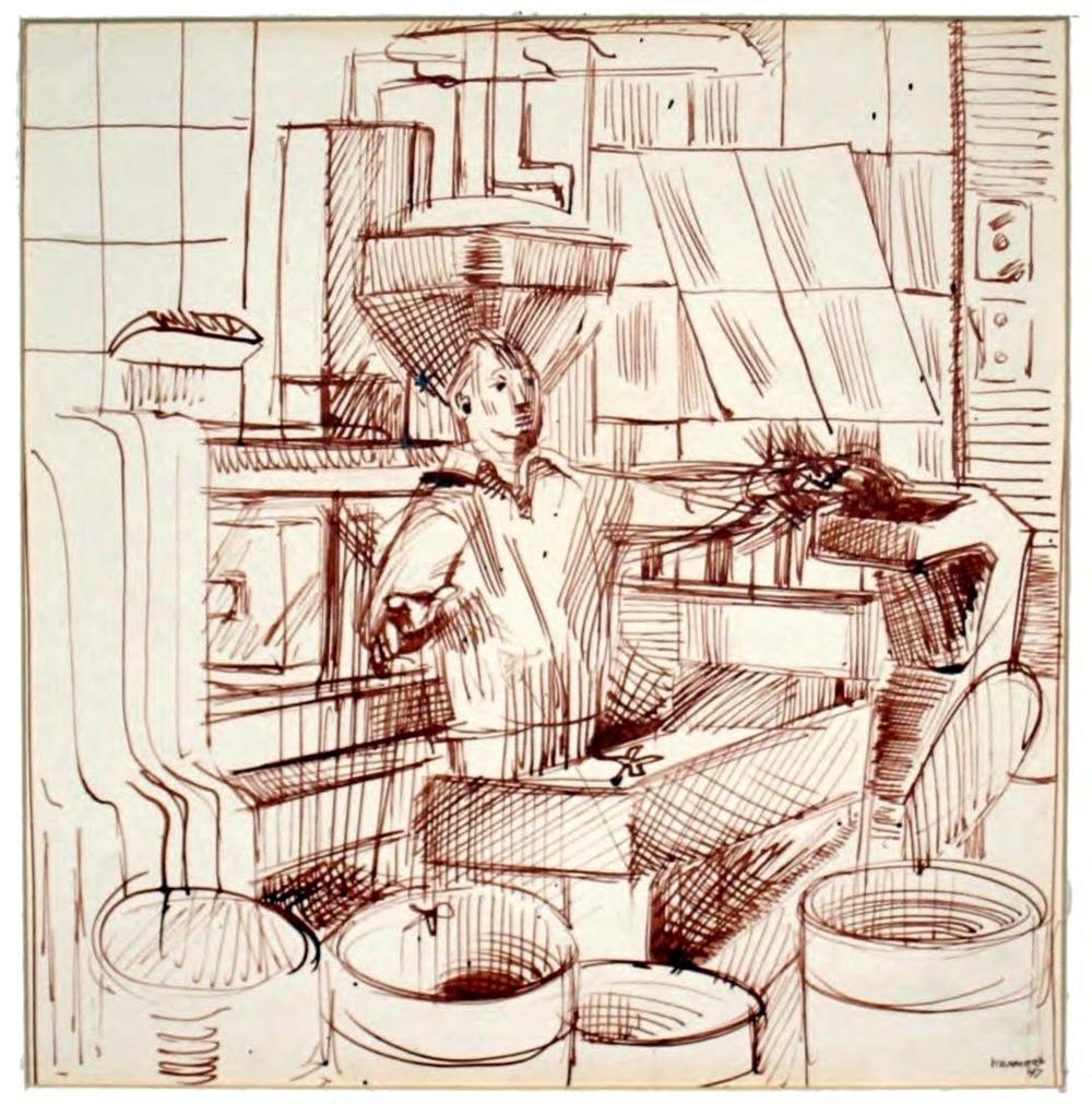 Edith Kramer: Working Man, 1947 Ink Drawing