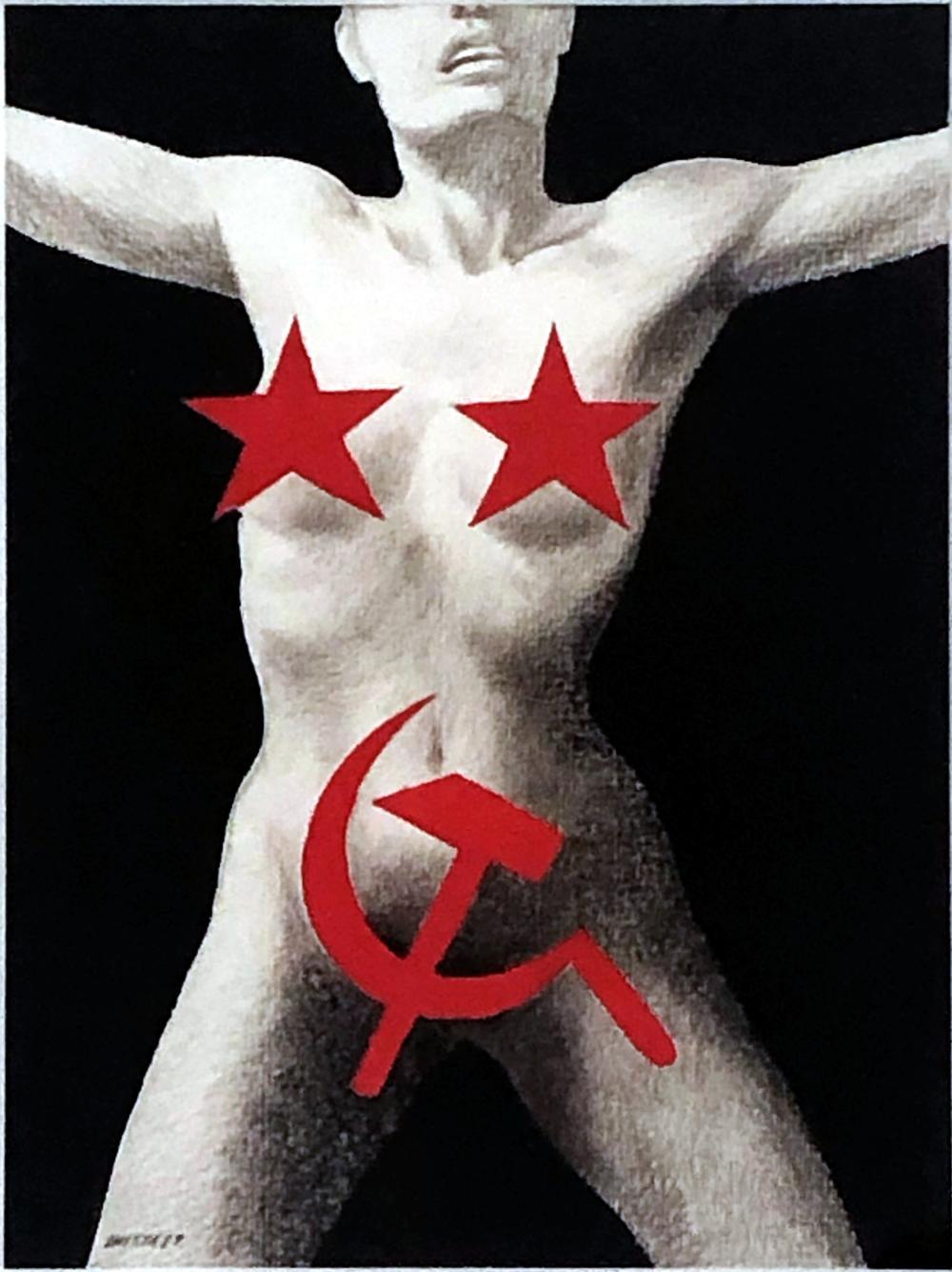 Evgeny Mitta: Soviet Sex: Hammer & Sickle, Red Stars. 1989, Graphite, Gouache