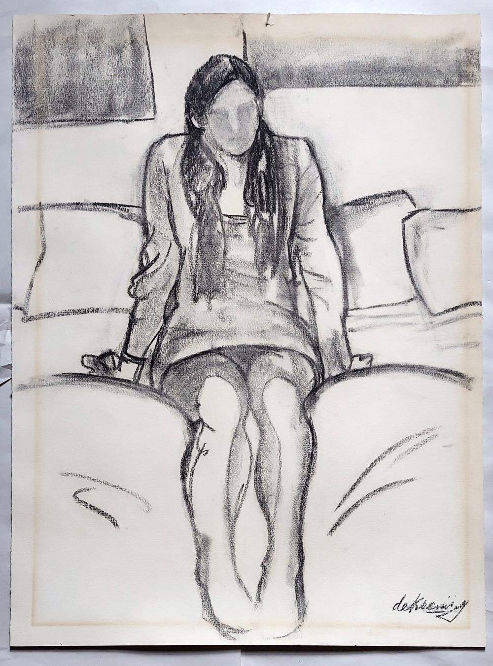 Willem de Kooning: Charcoal Drawing on Heavy Laid Paper, 1988