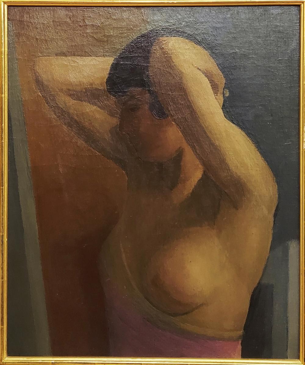 Boris Solotareff: Nu Avec Les Mains Levées, Oil/Canvas c.1920