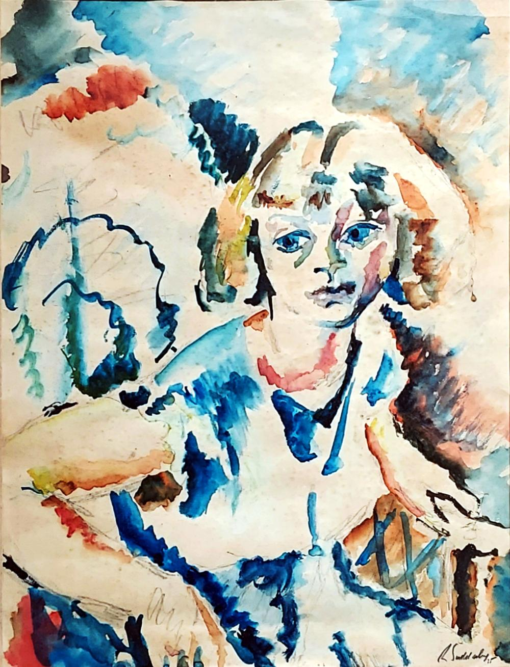 Rowland Suddaby: Girl Sitting, 1935 Watercolor/Pencil