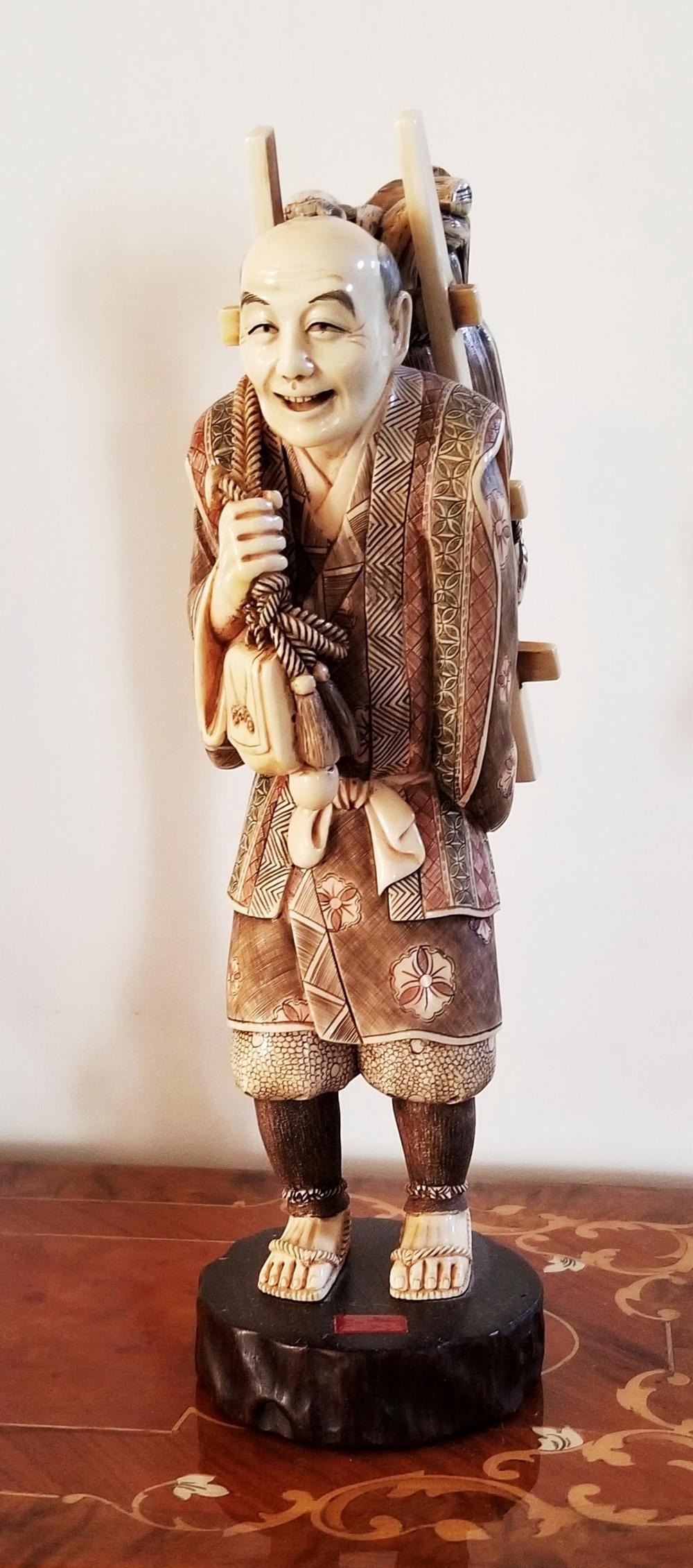 Okimono: Traveler, Carving Tokyo School (1868-1912)