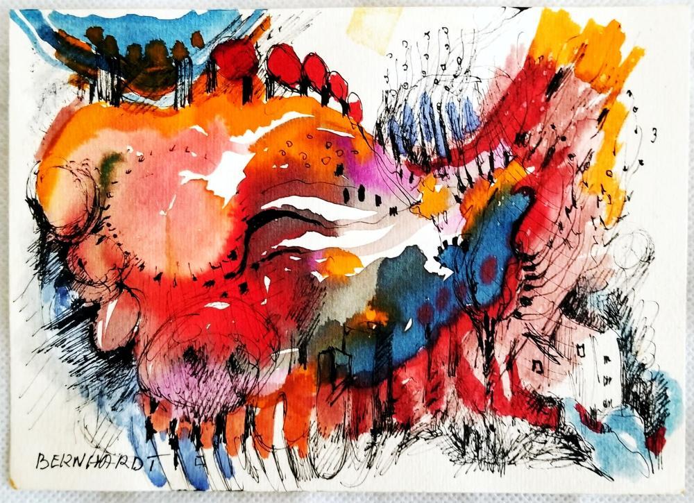 Glenn R. Bernhardt: Drawing, 1960s Ink & Color