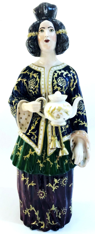 Russian Imperial Popov Porcelain Figural Decanter 19th Century