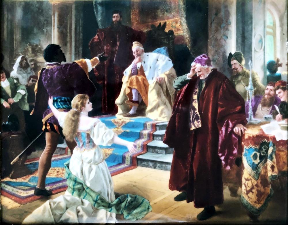 KPM Porcelain Plaque Othello Before the Doge, Eduard Baerschneider 19th Century